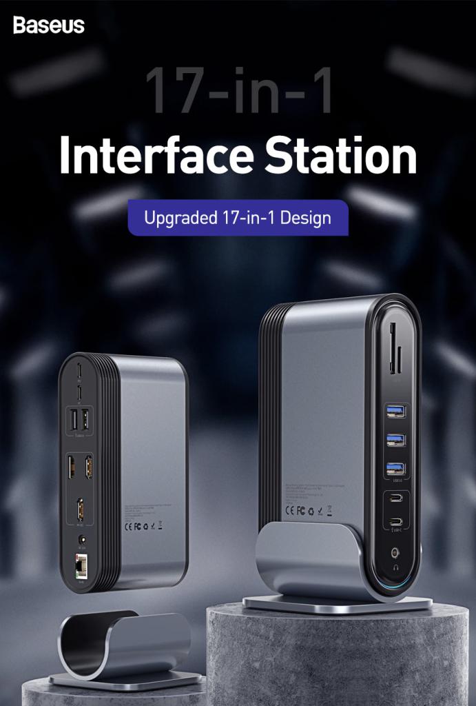 baseus – hub multiport usb type c vers hdmi, usb 3.0 avec adaptateur d'alimentation, station d'accueil pour macbook pro, rj45 otg