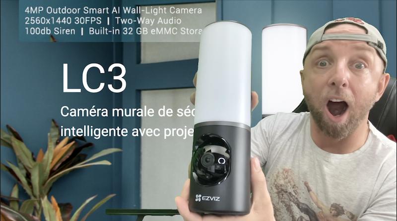 caméra murale avec eclairage intelligent et camera ip 2k ultra large ezviz lc3