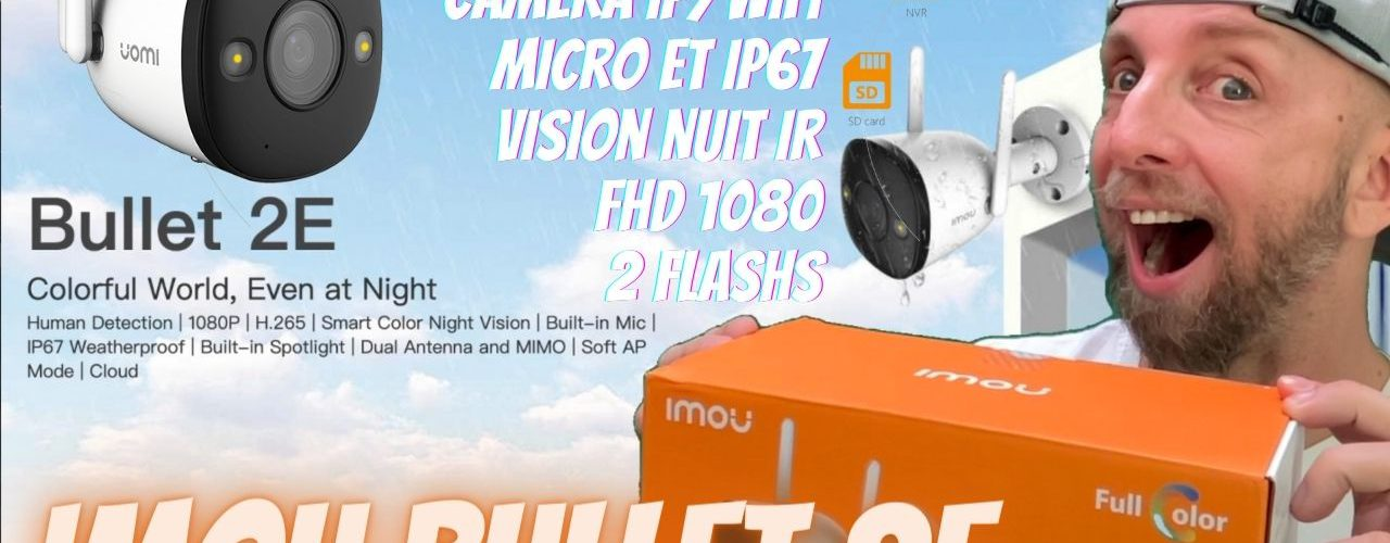 camera ip imou bullet 2e avec vision de nuit ip intelligent, 2 projecteurs et detection humain