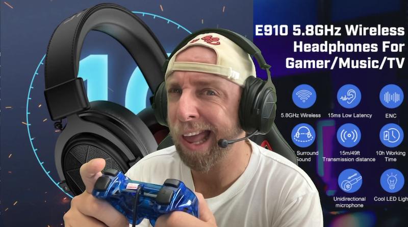 casque gaming et musqique sans fil 5,98ghz avec surrounf 7.1 eksa e910