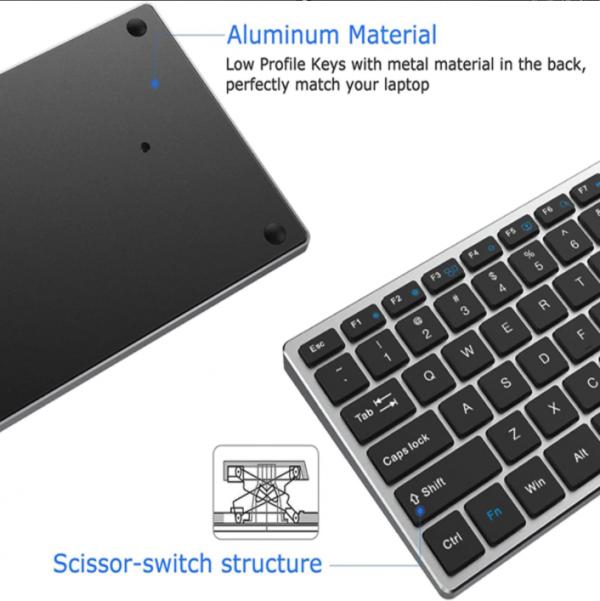 clavier bluetooth rechargeable azerty aluminium pour ipad tablette et ordinateur portable compatible avec ios windows