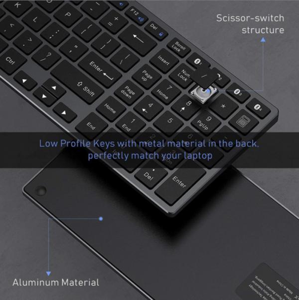 clavier bluetooth rechargeable azerty aluminium pour ipad, tablette et ordinateur portable windows