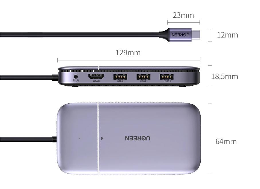 hub usb type c mac m1 avec ssd m.2, usb 3.1, hdmi, power delivery 100w macbook pro size