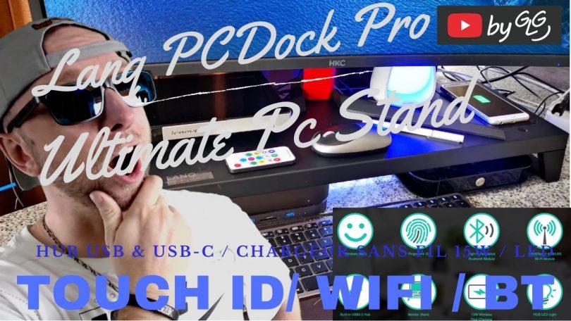 lanq pcdock pro hub usb c avec led, wifi,bt et chargeur qi 15w