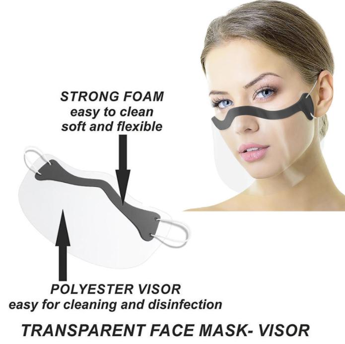 Masque Transparent Ergonomique Avec Visière De Protection