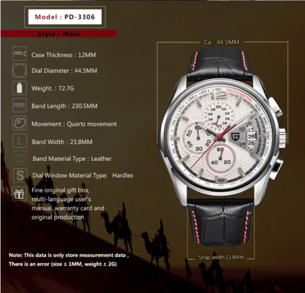 montre chinoise pagani design pd 3306