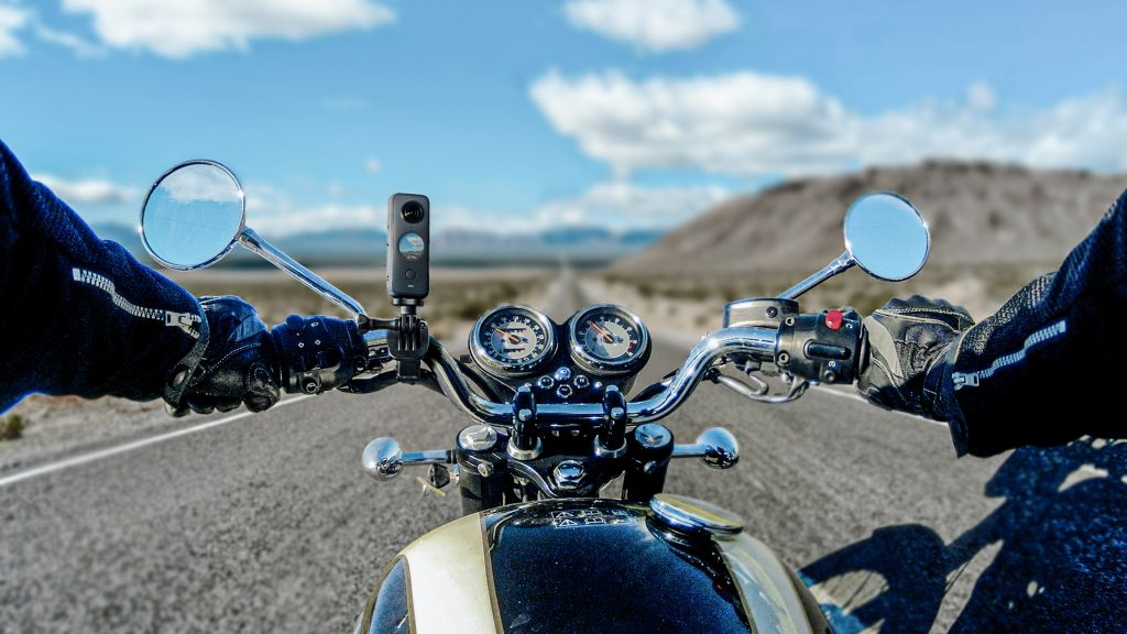 Motorbike On The Open Road From The Riders Point Of View