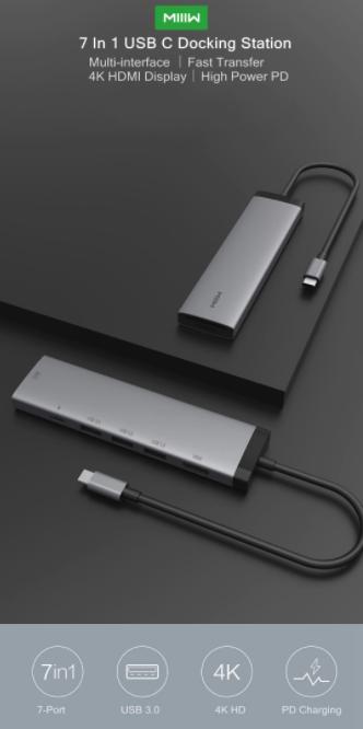 Multi Port Expansion Station D'accueil Pour Hub Usb C Xiaomi Miiiw 7 En 1