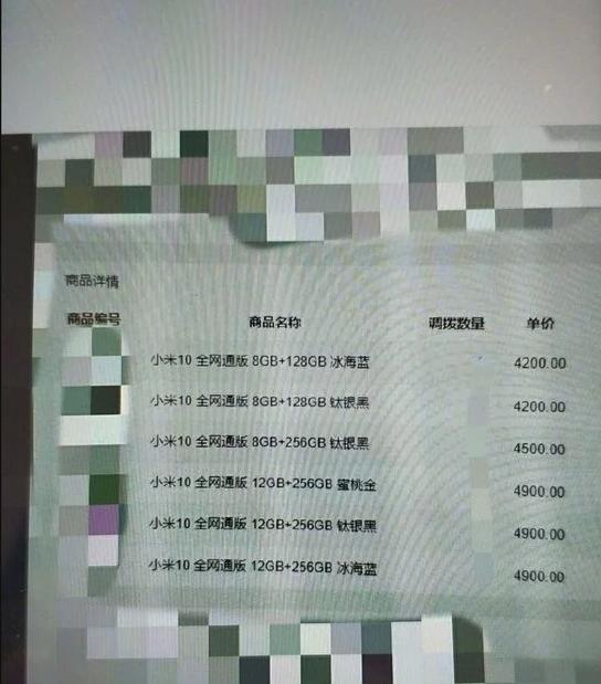 Prix Xiaomi Mi 10