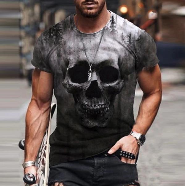 t shirt manches courtes col rond homme, vêtement rétro avec tdm
