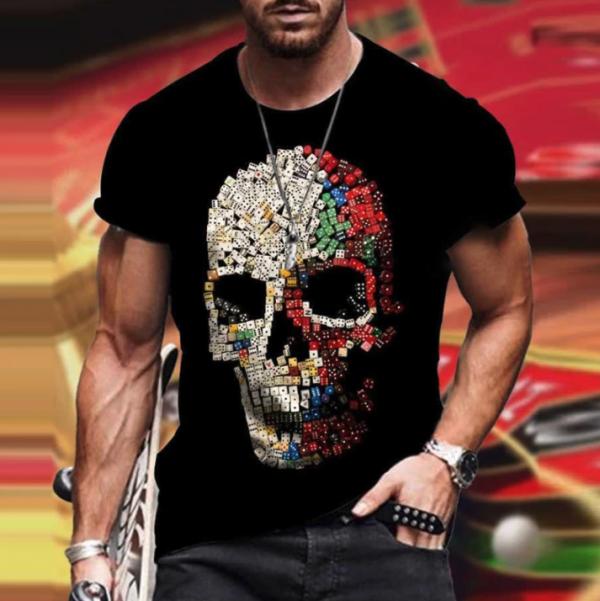 t shirt manches courtes col rond homme, vêtement rétro avec tdm couleurs
