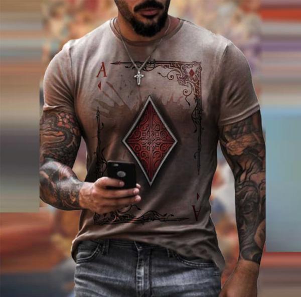 t shirt manches courtes col rond homme, vêtement rétro avec carte de poker imprimée beige