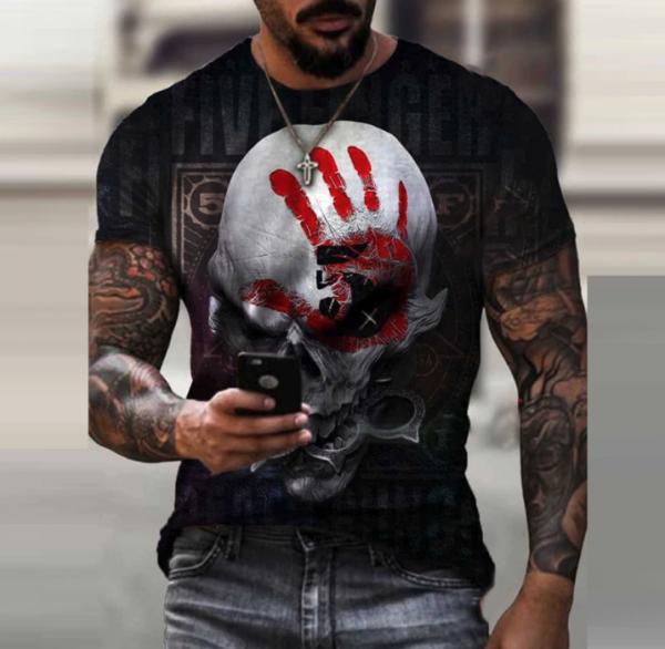 t shirt manches courtes col rond homme, vêtement rétro avec carte de poker imprimée black