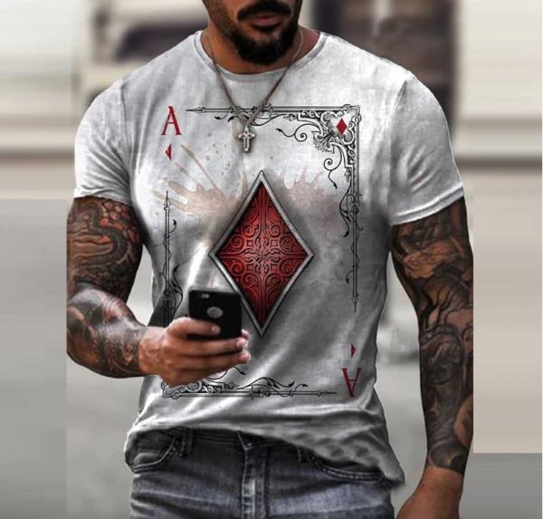 t shirt manches courtes col rond homme, vêtement rétro avec carte de poker imprimée gris clair