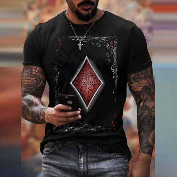 t shirt manches courtes col rond homme, vêtement rétro avec carte de poker imprimée noir