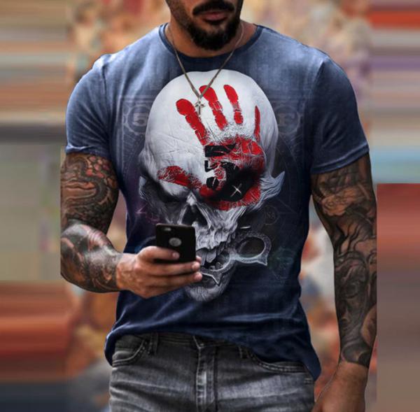 t shirt manches courtes col rond homme, vêtement rétro avec main bleu