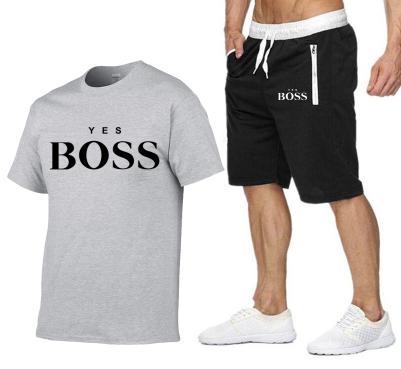yes boss t shirt + short gris clair et noir