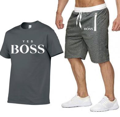 yes boss t shirt + short gris f et blanc