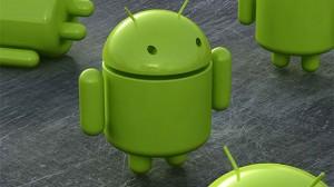 armée de robots android verts