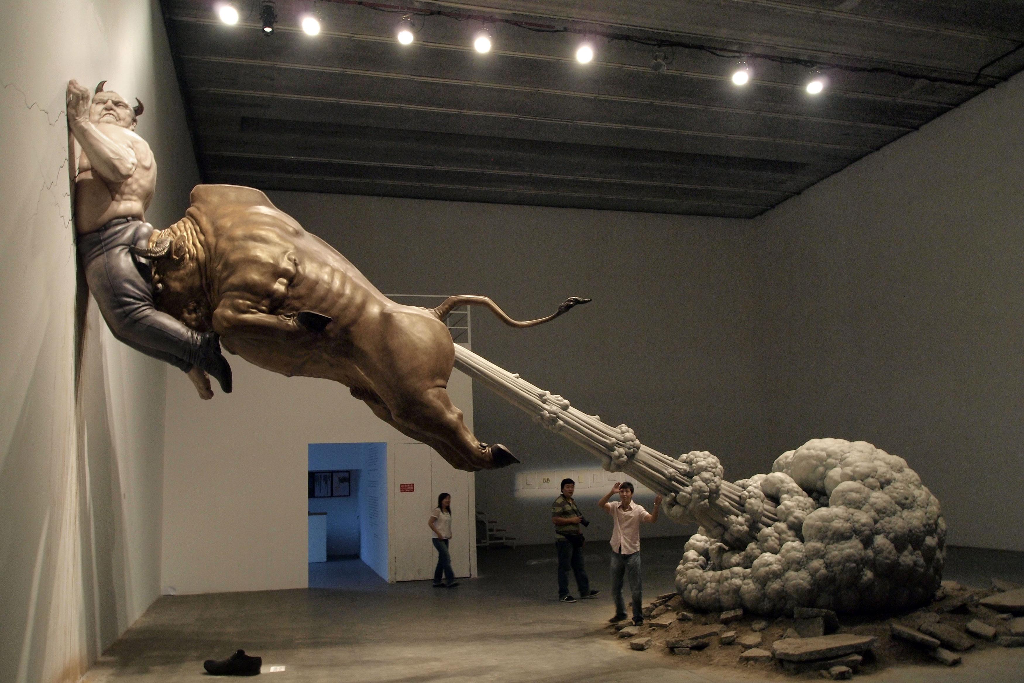 scuplture chinoise pet taureau